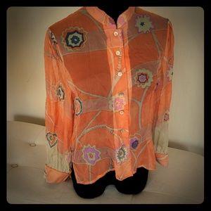 Vintage Blair Woolverton sheer blouse S